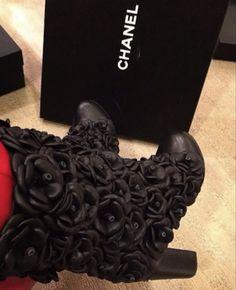 Chanel flower boot