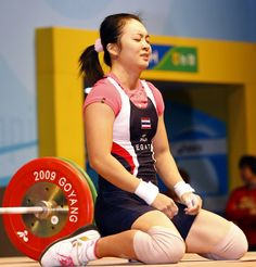 Prapawadee Jaroenrattanatarakoon of Thailand won the weightlifting gold medal in the women's 53 kilogram category during the 2008 olympics