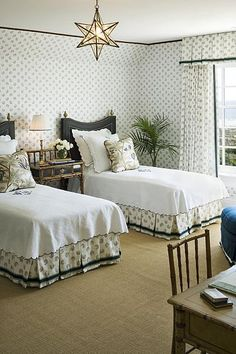 Room of the Day ~ now this is fetching - love the print with the dark detailing, dark beds, bedskirts and drapes - Terry Sullivan, 1.10.2014