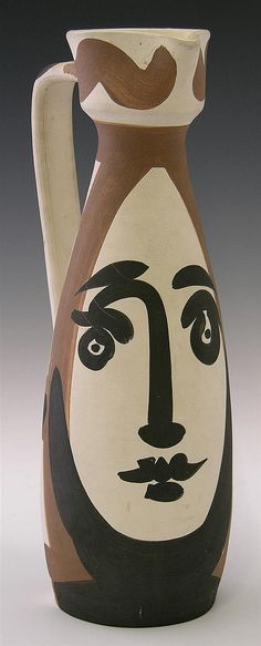 "Pablo Picasso (1881-1973), ""Visage,"" 20th c., painted ceramic pitcher"