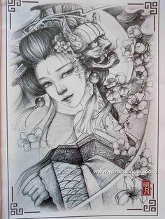 漂亮的艺伎纹身手稿