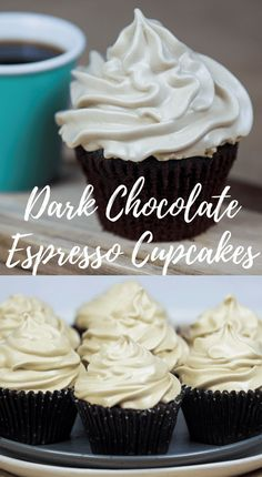 Light, moist and easy, Dark Chocolate Cupcakes with Espresso Meringue Frosting. Sweet Desserts, Just Desserts, Delicious Desserts, Yummy Food, Yummy Yummy, Cupcake Flavors, Cupcake Recipes, Cupcake Cakes, Cup Cakes