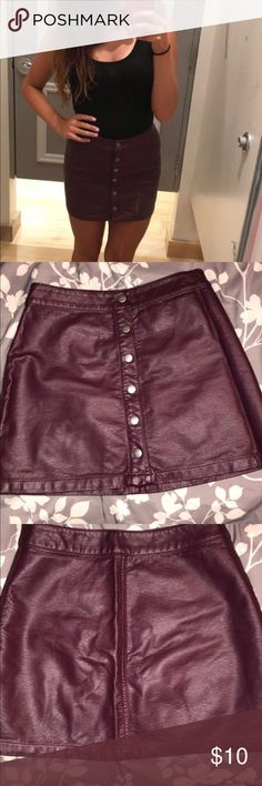 Burgundy leather skirt Buttons all the way up, leather, soft material! Forever 21 Skirts Mini