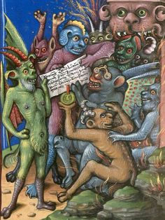 demon in glasses - Jacobus de Teramo, 'Litigatio Christi cum Belial' (German translation of 'Consolatio peccatorum, seu Processus Luciferi contra Jesum Christum'), Germany 1461 (München, Bayerische Staatsbibliothek, Cgm 48, fol. 132r)