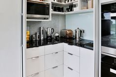 On-bench appliances don't need to be stored away in a cupboard, when you can simply close the pantry doors to hide them. Kitchen Pantry Design, Kitchen Cupboards, Kitchen Ideas, Walk In Pantry, Pantry Doors, Butler Pantry, Small Appliances, Food Preparation, Living Area