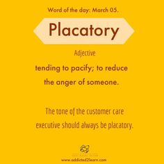 Placatory: tending to pacify; to reduce the anger of someone. Interesting English Words, Unusual Words, Weird Words, Learn English Words, Rare Words, Advanced English Vocabulary, English Vocabulary Words, English Phrases, English Grammar