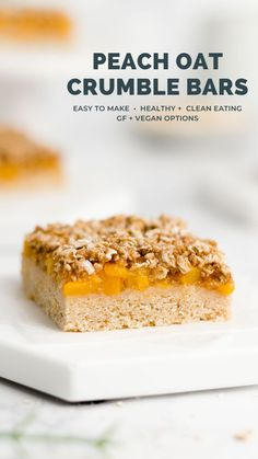 """These healthy peach crumble bars are perfect for summer! You can use fresh or canned peaches to make the filling. Topped with an oat crumble streusel & made with a sweet sugar cookie """"crust."""" Surprisingly simple to make too! Healthy peach crumble bars recipe easy. Peach oat bars vegan gluten free. Peach crumble bars with canned peaches. Peach desserts healthy clean eating. #healthyrecipe #cleaneating Healthy Candy, Healthy Bars, Healthy Dessert Recipes, Desserts, Bar Recipes, Cookie Recipes, Peach Crumble Bars, Blueberry Crumble Bars, Fat Peach"""