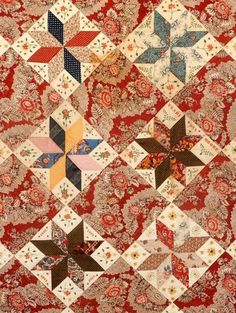 Quilt date-inscribed 1837 by Clarissa Moore Holman Collection of Old Sturbridge Village See a great photo of it here: https:& Star Quilt Blocks, Star Quilt Patterns, Star Quilts, Scrappy Quilts, Mini Quilts, Old Quilts, Antique Quilts, Vintage Quilts, Primitive Quilts