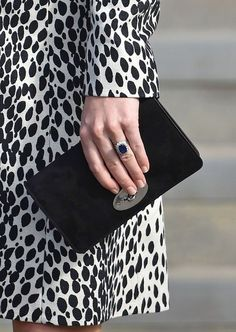 """Kate carried her Mulberry """"Bayswater"""" black suede clutch as she attended an exhibition at the Turner Contemporary in Margate, Kent, March 11, 2015."""
