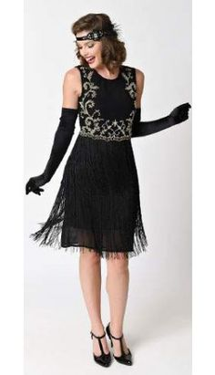 Unique Vintage Black & Gold Sleeveless Inez Fringe Flapper Dress