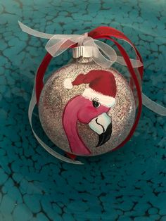 Hand painted Flamingo Ornament