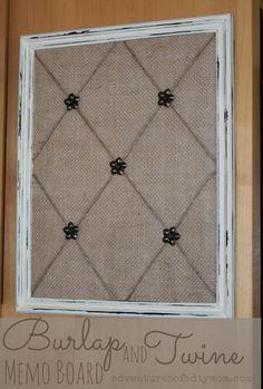 Adventures of a DIY Mom - How to Make a Burlap and Twine Memo Board Diy Memo Board, Fabric Memo Boards, Ribbon Boards, Bulletin Board, Burlap Projects, Burlap Crafts, Wood Crafts, Frame Crafts, Diy Frame