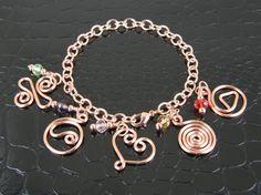 Handmade Charm Bracelet Copper Charm Bracelet by BonzerBeads