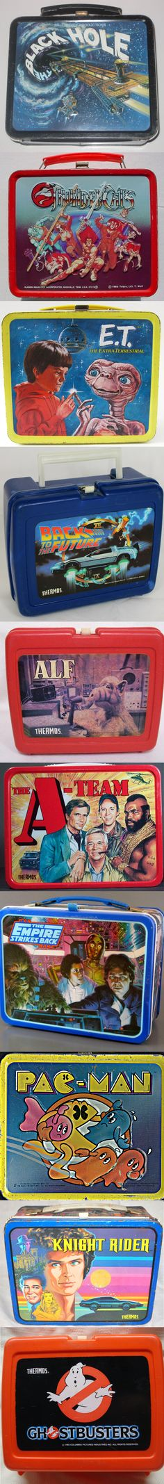 80's Lunchboxes ( sorry girls, boys only!) ( Vintage Lunchbox Retro Lunch Box / 1980's pop culture / film / cartoon / movie memorabilia / 80s / black hole / thunder cats / ET / E.T / knight rider / star wars empire strikes back / a-team / back to the future / pac man / ghost busters )