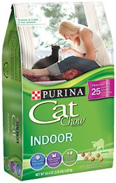 Cat Chow Indoor Formula -Natural fiber blend helps control hairballs.Helps your adult cat maintain a healthy weight and lean muscle mass.Contains the wholesome grains and garden greens your indoor cat craves.