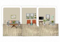 B and C new mid century modern living room