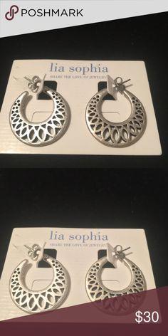 Lia Sophia Earrings- Brand New Beautiful silver matte hoops from Lia Sophia. Never worn. Smoke free, pet free home. Lia Sophia Jewelry Earrings