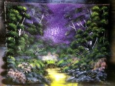 Purple forest nature spray painting - art by Robert Stevens