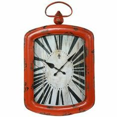 """Distressed iron wall clock in orange with roman numerals.     Product: Wall clock    Construction Material: Iron and glass   Color: Distressed orange      Accommodates: (2) AA Batteries - not included     Dimensions: 27.5"""" H x 16.5"""" W x 2"""" D"""