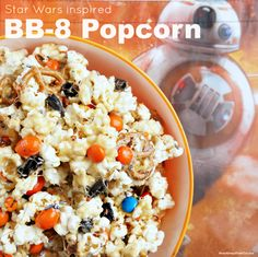 Star Wars BB-8 Caramel Popcorn Recipe Family Movie Night Party Snacks Star Wars Day #MayTheFourthBeWithYou #ad #HugTheMess