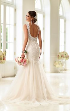 Stella York beaded Lace fit-and-flare wedding gown features a sweetheart neckline, elegant shoulder straps, and sparkling Diamante embellishments.