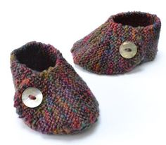 Knitted Wrap Over Baby Shoe with Pattern