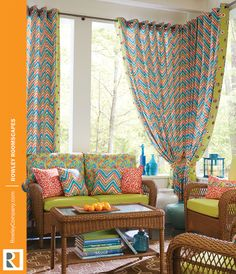 Grommet panels on a decorative metal rod open the way for a fresh breeze or close to shade the veranda from hot summer sun. Rowley Company, Drapery, Curtains, Decorative Metal, Summer Sun, Tie Backs, Window Treatments, Breeze, Outdoor Living