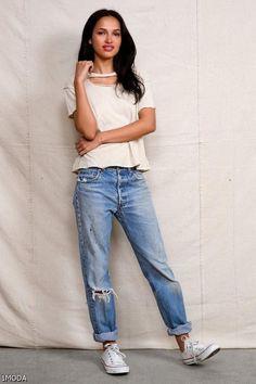 Best Boyfriend Jeans, Estilo Fashion, Look Fashion, Ideias Fashion, Womens Fashion, Mode Outfits, Jean Outfits, Casual Outfits, White Outfits