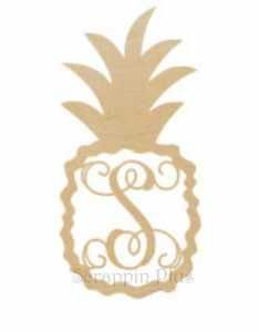 Scrappin Plus Pineapple Single Monogram Letter - Single vine letter bordered by a pineapple. or baltic birch plywood, sanded and ready to paint. Wooden Door Hangers, Wooden Doors, Wooden Monogram Letters, Wood Animal, Baltic Birch Plywood, Wooden Shapes, Wood Crafts, Craft Supplies, Pineapple