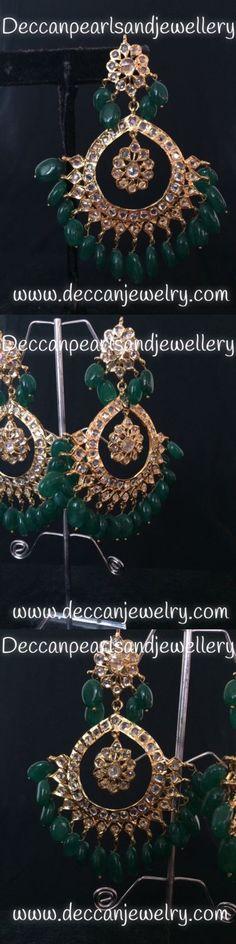 Earrings 98510: Hyderabadi Jadau Chandbali Statement Earrings Indian Pakistani Jewellery -> BUY IT NOW ONLY: $45 on eBay!