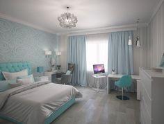 Simple Bedroom Design, Bedroom Closet Design, Home Design Decor, Home Decor Trends, Glam Master Bedroom, Blue Bedroom, Bedroom Decor, Blue Living Room Decor, Bedroom Flooring