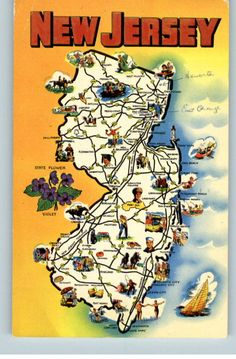 This is an illustrated map, the artist drew pictures of the popular items from each area in NJ.  Can you see what Lopatcong is famous for?