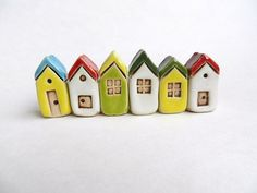 Ceramic Miniature Houses Set of 6, miniature clay tiny house fairy house, pottery house,miniatures, housewarming, small building