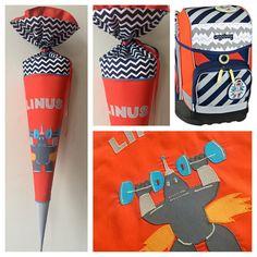 Schultüte aus Stoff mit Roboter, Orange und blau gestreift