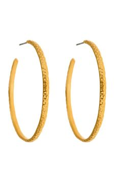 """With hammered gold detail, the Willow Hoop Earrings are a rich look.Post backs.Surgical steel posts.    Measures: 1.75"""" diameter x 1/8"""" W   Willow Hoop Earrings by Fornash. Accessories - Jewelry - Earrings - Hoops Virginia"""