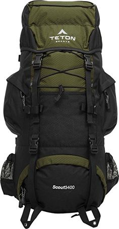 TETON Sports Scout 3400 Internal Frame Backpack; Great Backpacking Gear or Pack for Camping or Hiking; Hunter Green