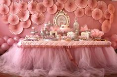 A gorgeous party table... if the adults are serving. Otherwise I can see little ones tripping on the puddled tulle.