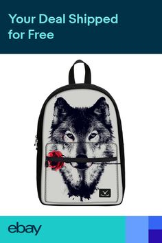 4cc6c639c3 Smart Wolf Print Canvas Backpack Boy Audio Pocket 14 Laptop Campus Shoulder  Bag