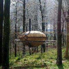 This pod-shaped woodland retreat floats on a net between the trees