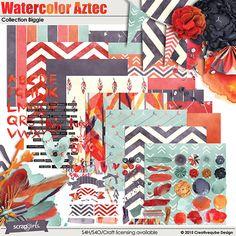 Watercolor Aztec Digital Scrapbooking Kit Biggie by Creativeqube