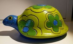 1968 Pride Creations Groovy Retro Turtle Bank Hand Painted