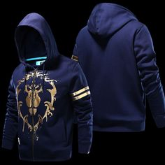 World of Warcraft Alliance Logo Sweatshirts Boys Blue Zipper Hoodie