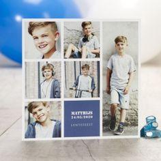 Vierkant bedankje met 6 foto's | Tadaaz #herinnering #aandenken #communie #lentefeest #foto's #blauw #grijs #jongen