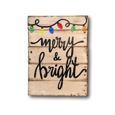 Merry and Bright Wood Sign - Christmas Mantel Decoration - Christmas Wall Decor - Rustic Wood Christmas Sign Family Christmas Cards, Christmas Signs Wood, Holiday Signs, Christmas Mantels, Christmas Colors, Rustic Christmas, Christmas Art, Christmas Decorations, Christmas Villages