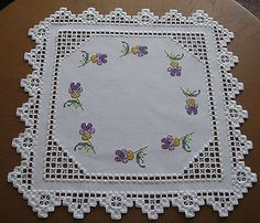 Hardanger Cross Stitch Embroidered Tablecloth Violets 100 Handmade New | eBay