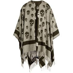 Alexander McQueen Skull wool and cashmere-blend cape ($575) ❤ liked on Polyvore featuring outerwear, brown multi, wool capes, alexander mcqueen cape, woolen cape, wrap cape and wool wrap cape