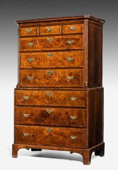 George II period burr walnut chest on chest