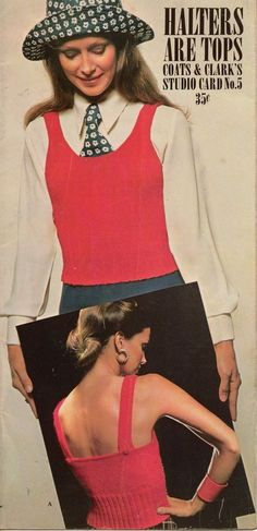 Coats Clark Halters Are Tops Studio Card #5 Knitting Crochet Patterns 1972 #CoatsClark
