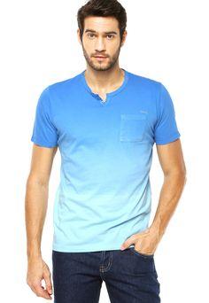 7a227b2efbb19 Camiseta Slim Degradê Azul