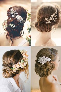 Bride to Be Reading ~ 18 Most Romantic Bridal Updos ♥ Inspiration and ideas for beautiful wedding hairstyles that are perfect for a rustic chic summer wedding or an elegant affair - will keep me cool in the heat and so pretty! Wedding Hair And Makeup, Hair Makeup, Hair Wedding, Wedding Pins, Wedding Dresses, Wedding Bride, Makeup Tips, Romantic Bridal Updos, Hair Inspiration